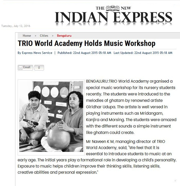 7-TRIO World Academy Holds Music Workshop - The New Indian Express